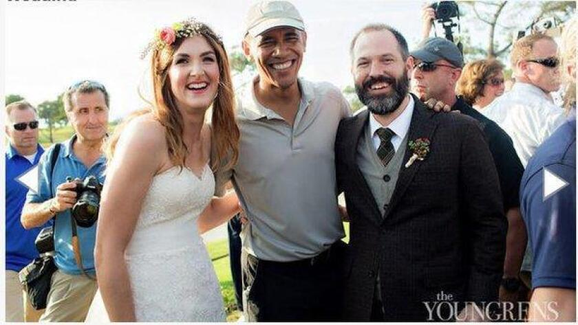 Brian and Stephanie Tobe meet President Obama on their wedding day. (/ Jeff and Erin Youngren)