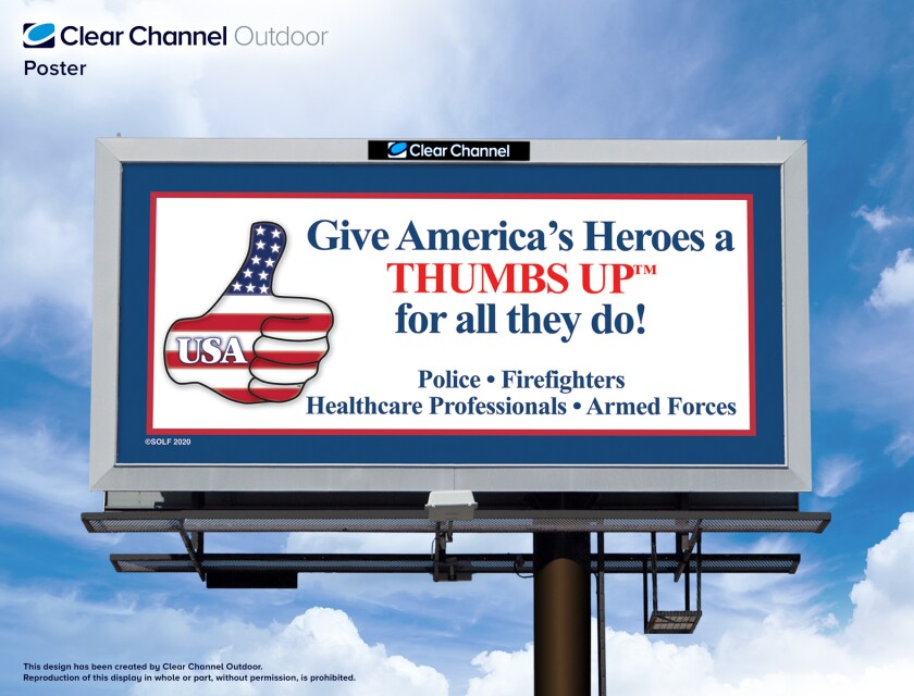 "The ""Operation Thumbs Up!"" billboard featuring the graphic."