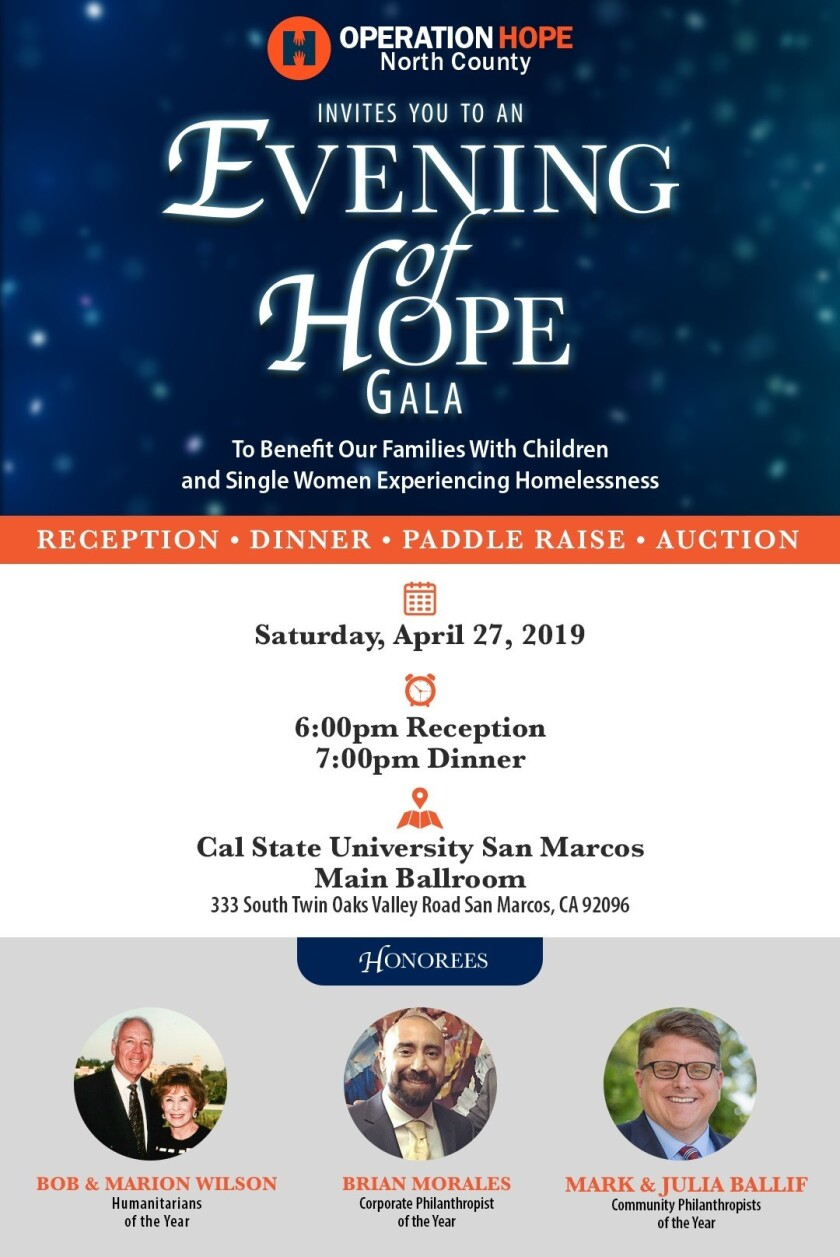 Rancho Santa Fe couple among 2019 Evening of HOPE Gala honorees