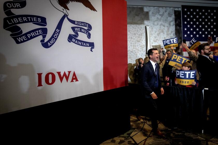 Pete Buttigieg campaigns in Ankeny, Iowa, on Thursday
