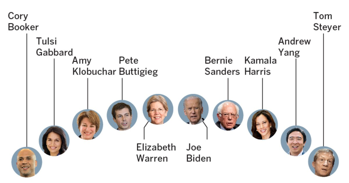 Who are the Democratic candidates onstage at the debate in Atlanta?