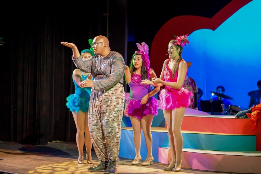 "Ryan Burtanog (as Horton the Elephant) and fellow cast members in Coronado Playhouse's ""Seussical The Musical."""