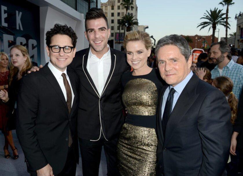"""Star Trek Into Darkness"": Alice Eve with J.J. Abrams, Zachary Quinto and Brad Grey"