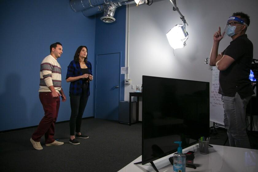 Actors Gabriel Villanueva and Elizabeth Bemis audition for a commercial