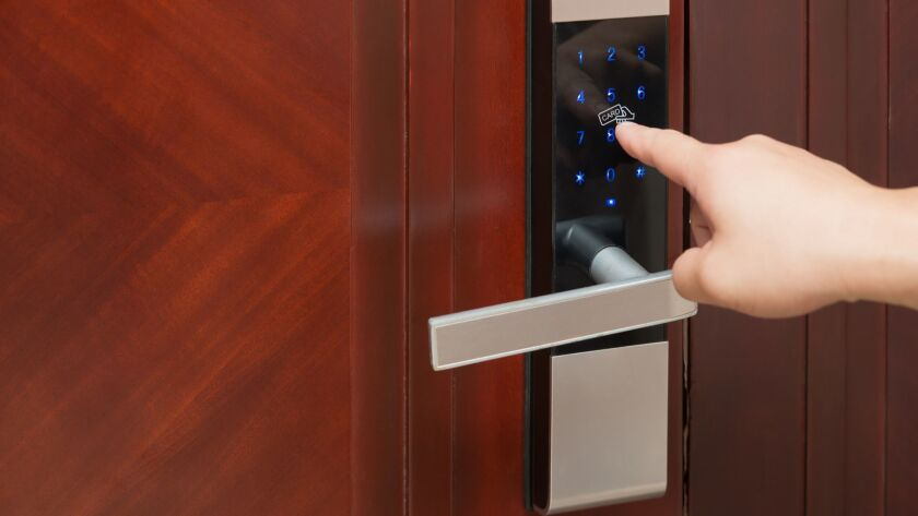 Install electronic door locks that require a card, or pass code.