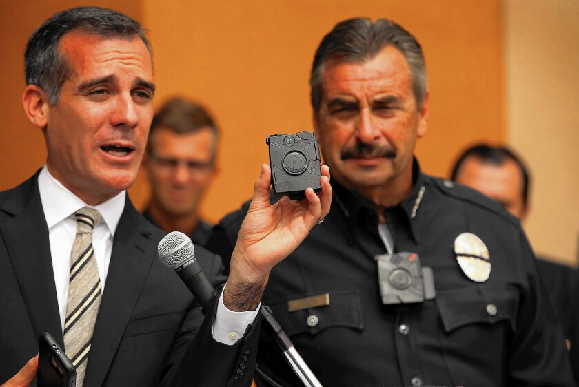Eric Garcetti and Chief Charlie Beck LAPD body cameras