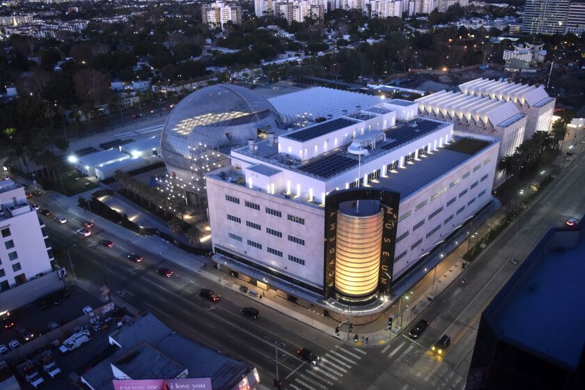 Aerial photo of the Academy Museum of Motion Pictures at Fairfax Avenue and Wilshire Boulevard.