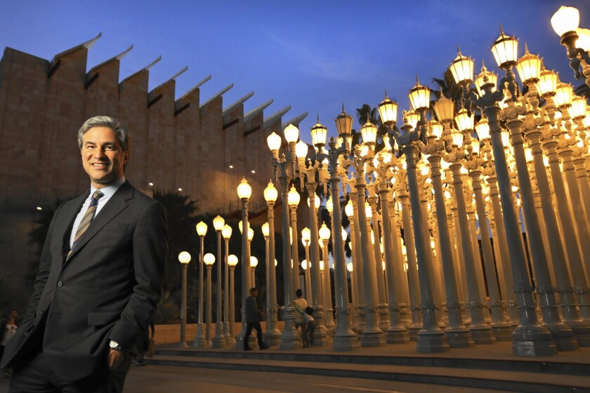 """LACMA Director Michael Govan, shown next to Chris Burden's work """"Urban Lights,"""" calls the museum's collections """"very good"""" and says it's getting only better."""