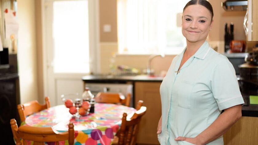 Home healthcare worker in Patients Kitchen