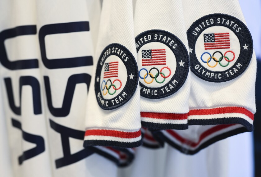 Team USA Tokyo Olympic closing ceremony uniforms are displayed during an unveiling April 13 in New York.