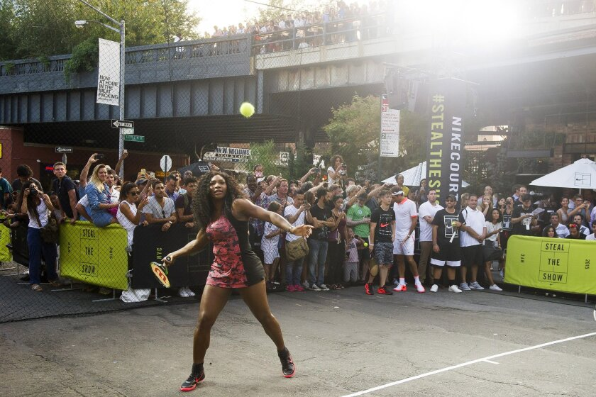 Serena Williams plays in Nike's Street Tennis Pro Event in Greenwich Village on Monday, Aug. 24, 2015.
