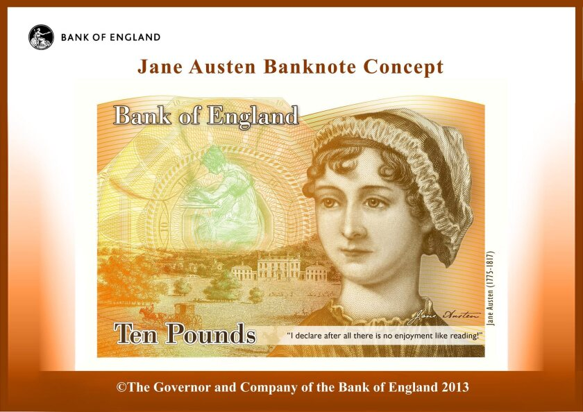 The Bank of England's planned 10-pound note featuring Jane Austen.