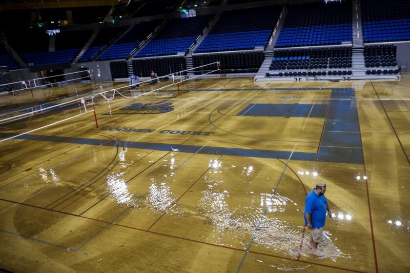 The wood floor of UCLA's Pauley Pavilion was flooded after the July 29 water main break under Sunset Boulevard.