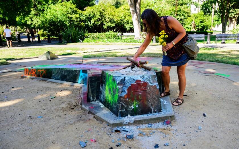 Devout Catholic Audrey Ortega marks former site of statue memorializing Father Junipero Serra Sacramento's in Capitol Park.