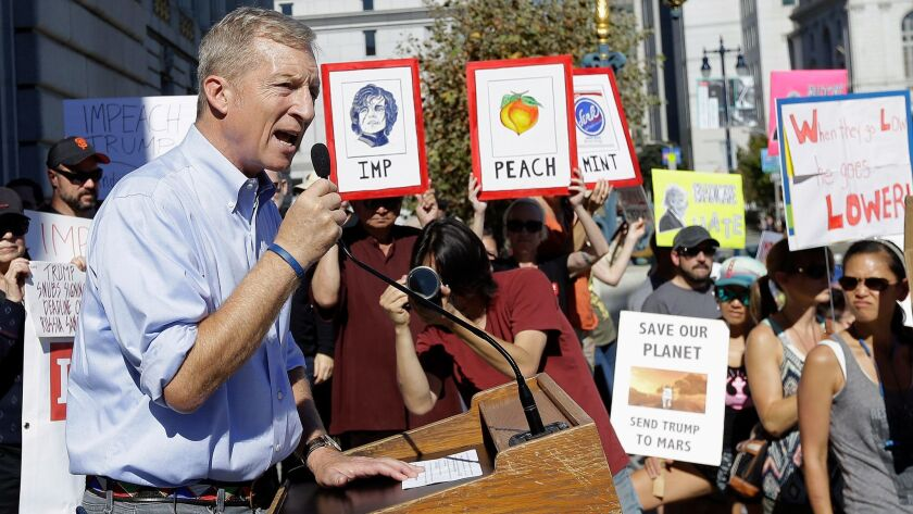 Tom Steyer speaks at a rally calling for the impeachment of President Trump in San Francisco on Oct. 24.