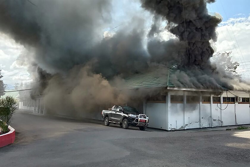 A building burns in the town of Wamena during protests in Indonesia on Monday.