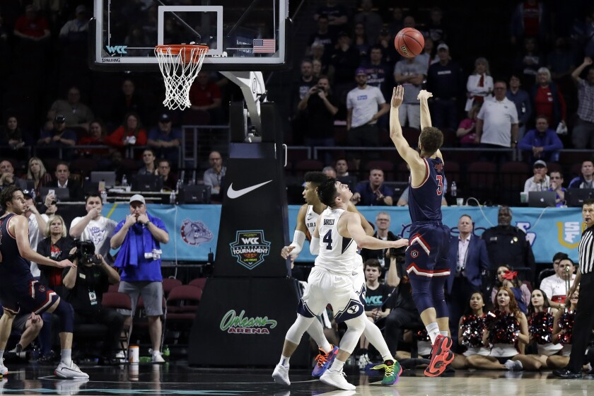 Saint Mary's Jordan Ford (3) sinks a game winning shot against BYU with seconds remaining in the second half of an NCAA college basketball game in the West Coast Conference men's tournament Monday, March 9, 2020, in Las Vegas. Saint Mary's won 51-50. (AP Photo/Isaac Brekken)