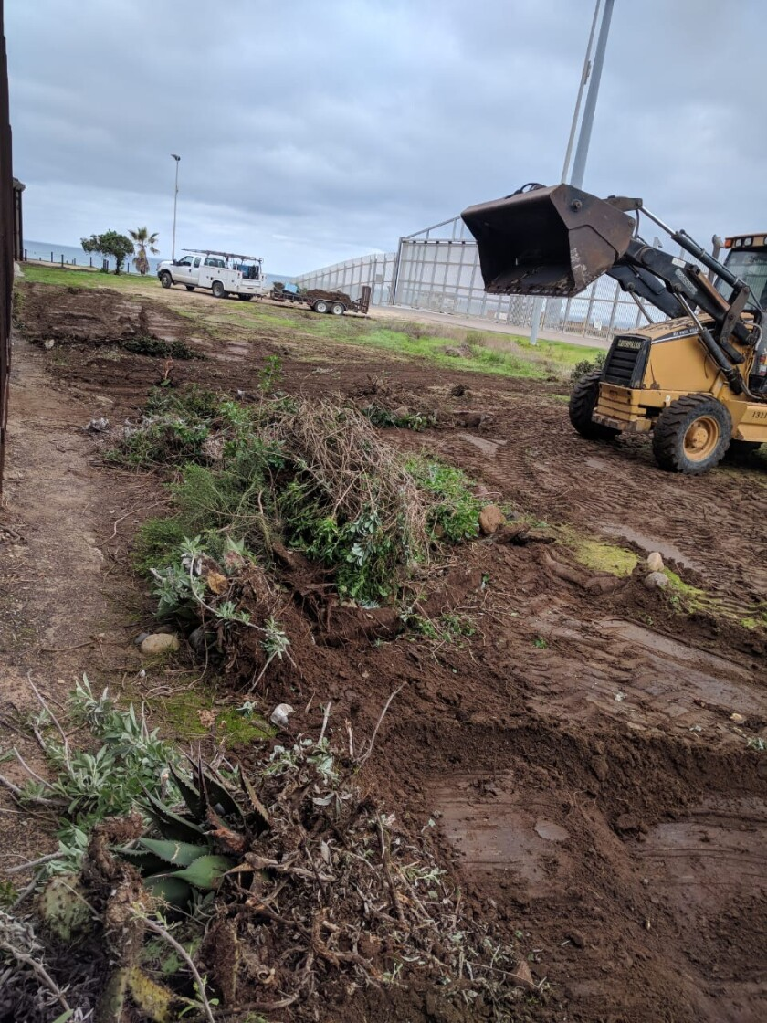 Courtesy photo showing how machinery razed part of the binational garden on January 8, 2020
