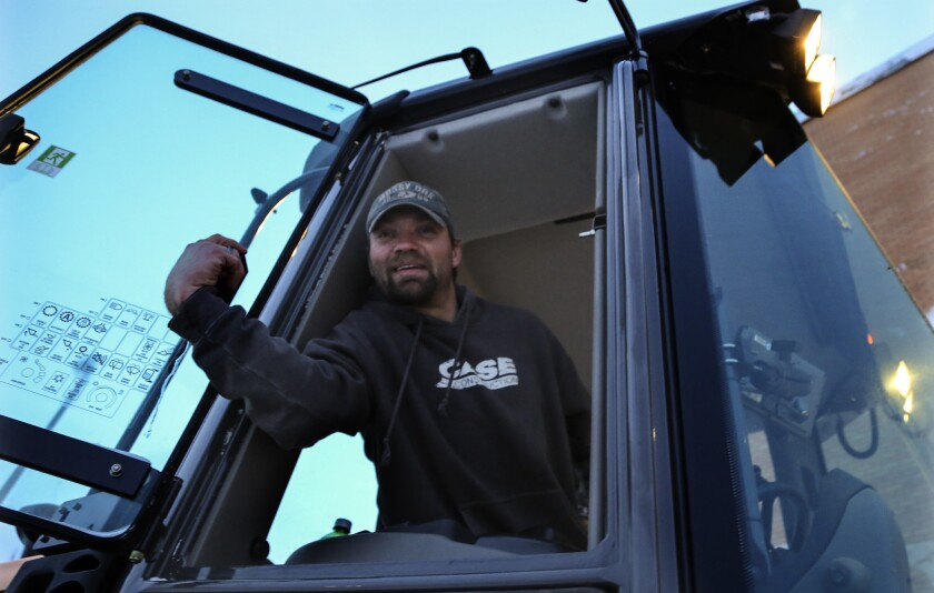 """Corey Sayler, a snow plow driver, says he's sympathetic to the pipeline protesters but adds, """"I think they're kind of overdoing it."""""""