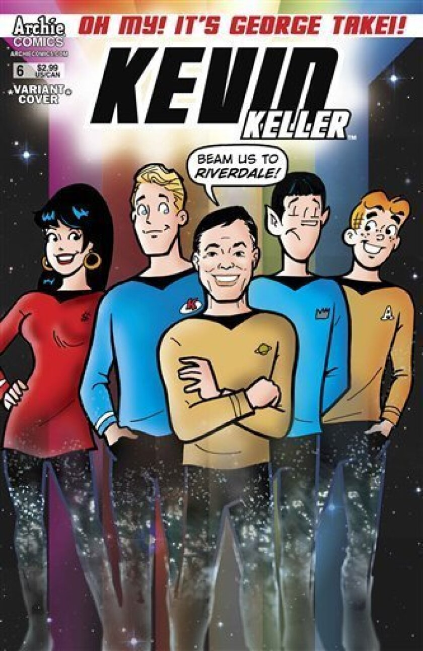 """This comic book cover released by Archie Comics shows an animated depiction of George Takei as Mr. Sulu from """"Star Trek,"""" center, with Archie characters for issue No. 6 of Archie Comics' """"Kevin Keller,"""" series about Riverdale's only gay teenager. Takei says his appearance dovetails nicely with his real-life advocacy for equal rights and shows that anyone can aspire to be what they want to be no matter who they are. (AP Photo/Archie Comics)"""