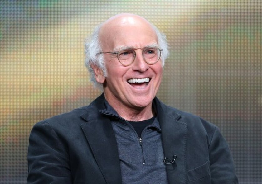 """Larry David, seen speaking during a June ceremony honoring Mel Brooks with an AFI Life Achievement Award, was at the Television Critics Assn. press tour Thursday to talk about his upcoming HBO movie """"Clear History."""""""