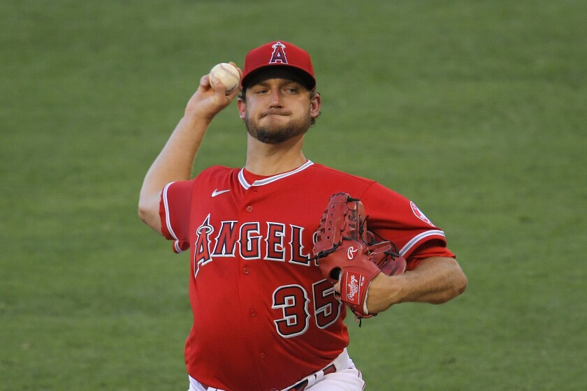 Angels pitcher Matt Andriese delivers during the first inning against the Houston Astros on July 31, 2020.
