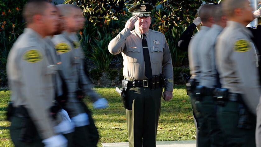LOS ANGELES, CA-OCTOBER 27, 2017: Los Angeles County Sheriff Jim McDonnell salutes new deputies as