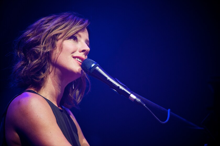 Sarah McLachlan, shown above at a New York concert, is San Diego-bound as part of an intimate tour with cellist/singer and Jeff Beck band Vanessa Freebairn-Smith.