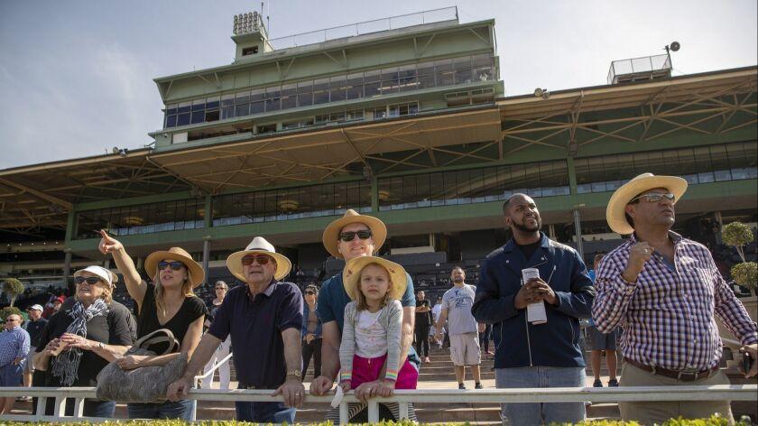 ARCADIA, CALIF. -- FRIDAY, MARCH 29, 2019: Fans cheer on their horse during Santa Anita Race 6 as Sa