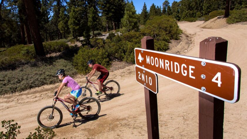 Mountain bikers ride down a trail at Snow Summit in Big Bear Lake, Calif. The ski resort runs a mountain bike park in the summer.