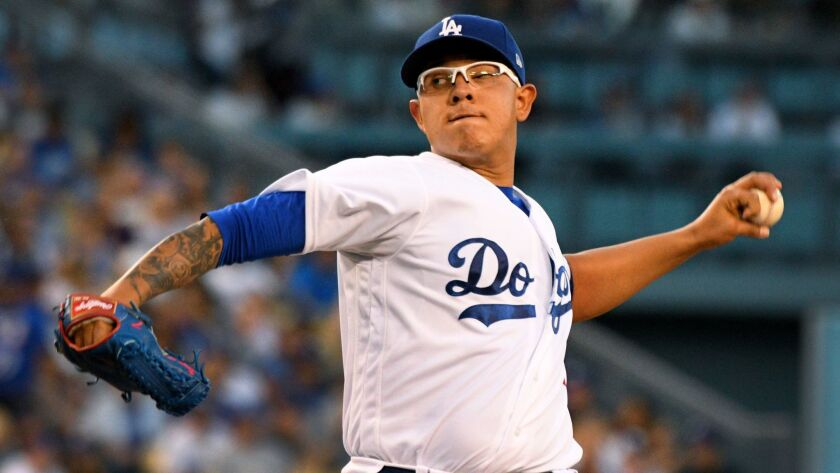 Dodgers' Julio Urias pitches against Miami on May 20.