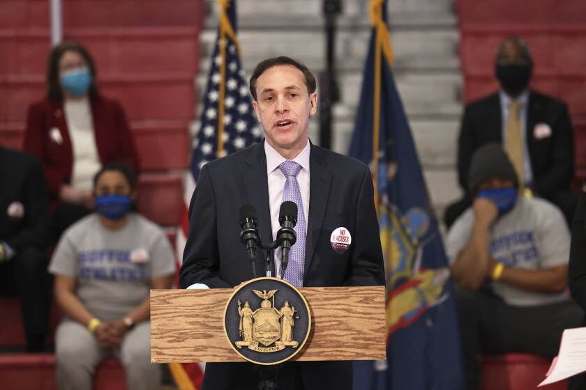 FILE - Dr. Howard A. Zucker, commissioner of the New York State Department of Health, speaks during a news conference on coronavirus vaccination at Suffolk County Community College on Monday, April 12, 2021 in Brentwood, N.Y. New York Gov. Kathy Hochul says Zucker has submitted his resignation, Thursday, Sept. 23. Zucker was appointed by former Gov. Andrew Cuomo as state health commissioner in 2015. He has faced heated criticism over the state's COVID-19 response, particularly in nursing homes.(Michael M. Santiago/Pool via AP)
