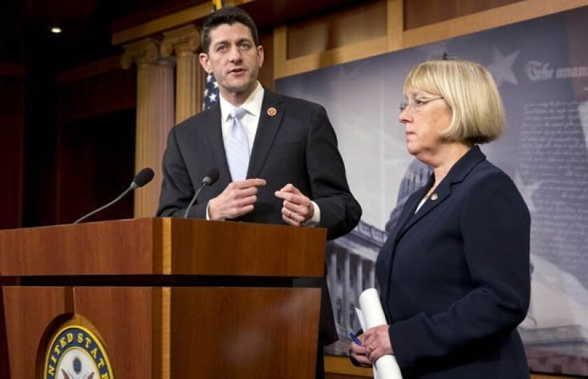 House Budget Committee Chairman Paul Ryan, R-Wis., and Senate Budget Committee Chairwoman Patty Murray, D-Wash., announce a tentative agreement between Republican and Democratic negotiators on a government spending plan, at the Capitol in Washington, Tuesday, Dec. 10, 2013. Negotiators reached the