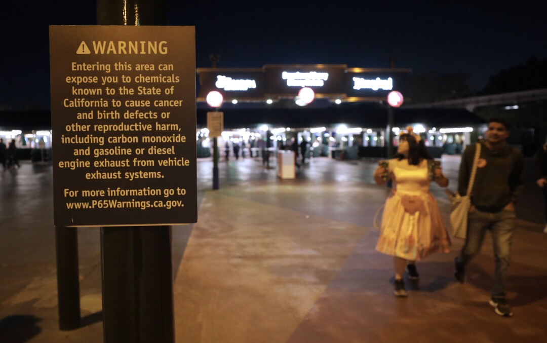 A Proposition 65 sign at Disneyland's entrance warns visitors of the presence of dangerous chemicals.