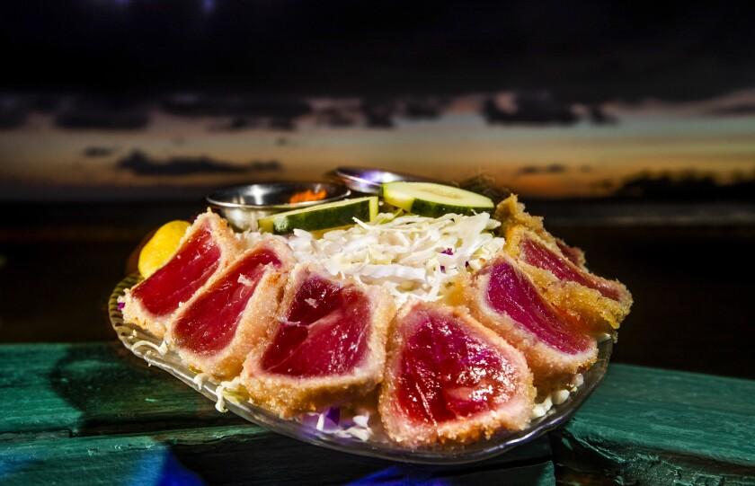 Seared rice paper ahi  is on the menu at the Kona Inn restaurant in Kailua-Kona, Hawaii.