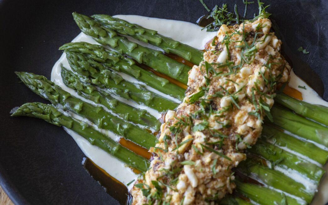 Chilled Asparagus with Green Garlic Mayonnaise and Dijon Egg Salad