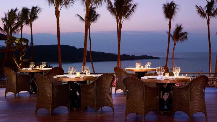 The views are picture-perfect from the One Forty restaurant at the Four Seasons Resort Lanai.