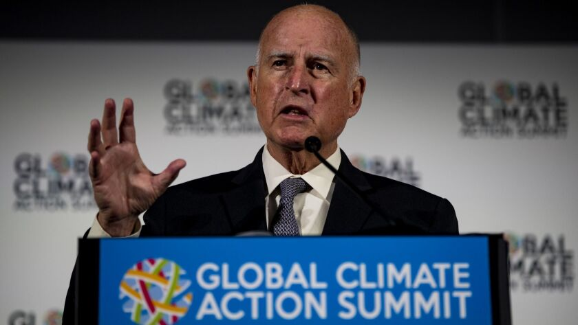 Gov. Jerry Brown announces how states, cities and businesses are leading the U.S. to a low-carbon future on the first full day of the Global Climate Action Summit at the Moscone Center on Sept. 13 in San Francisco.