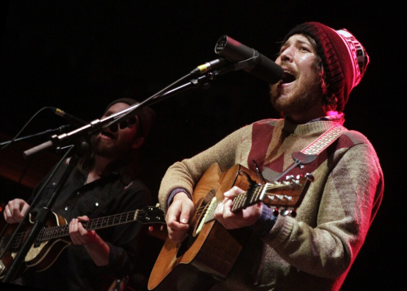 Fleet Foxes' Robin Pecknold, foreground, and Christian Wargo.