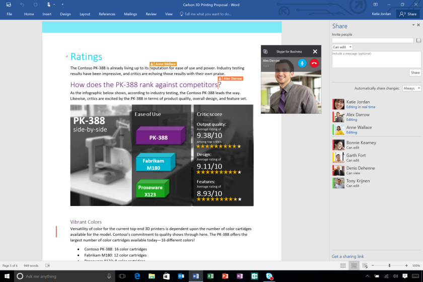 The Microsoft Word desktop app in Office 2016 allows multiple people to work on a document and see each other's work in real time.