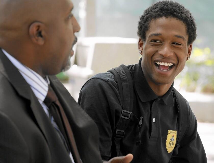 Semaj Clark with mentor Mykol Lewis on the Mt. San Antonio College campus.