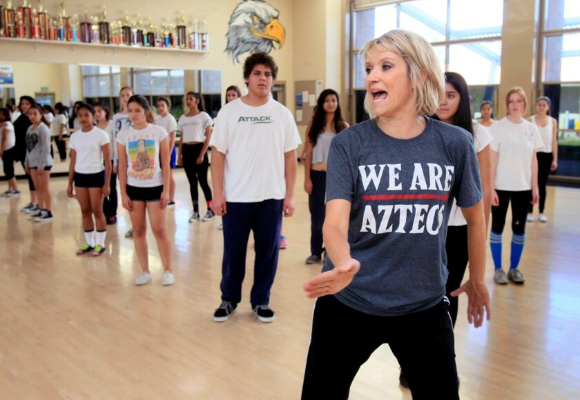 The Escondido Union High School District has invested more than $5 million in dance studios at its high schools over the past three years. Choreographer Carrie Smith helped teach students hip-hop at San Pasqual High School this past week.