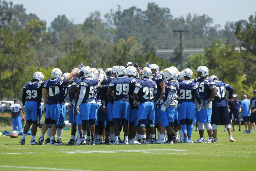 Chargers defensive players gather during practice.