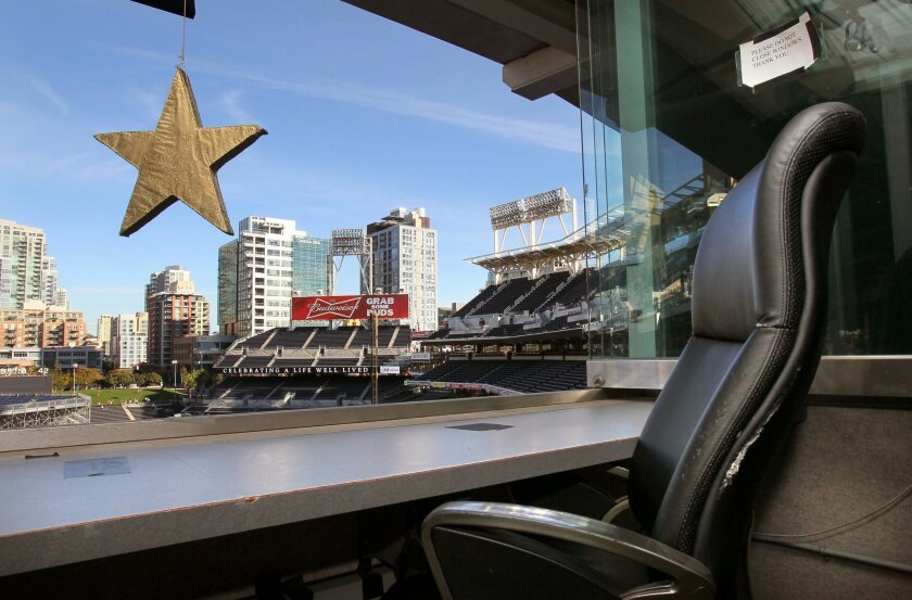 A star hangs over Jerry Coleman's chair in the Petco Park's broadcast booth January 18th during his memorial service.