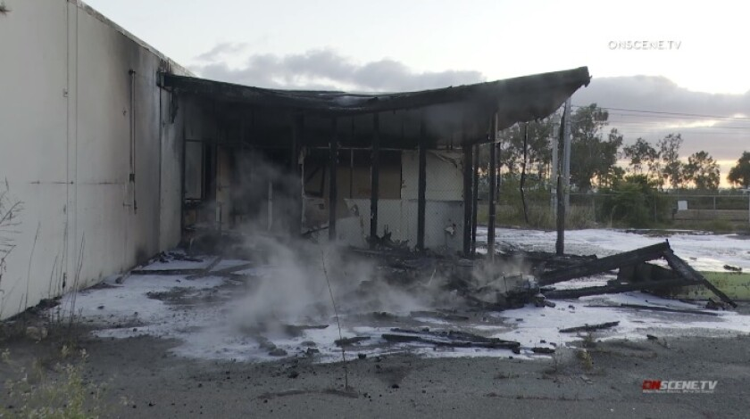 Chula Vista firefighters battled a blaze Wednesday night at an abandoned public works building.
