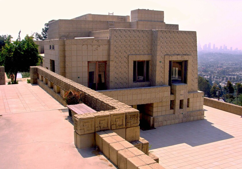 Frank Lloyd Wright, Los Feliz, 1924 The largest and loudest of Wright's four concrete-block houses in L.A., the Ennis House suggests what the greatest of Modernists would have done with a commission from the Maya Empire 700 years earlier. A heavy, elongated mass constructed of 16-by-16-inch concrete blocks (most textured with an ornate pattern) and sited majestically on a hilltop overlooking Griffith Park, the building appears to be more than a house -- an elegant fortification, perhaps, or a temple.