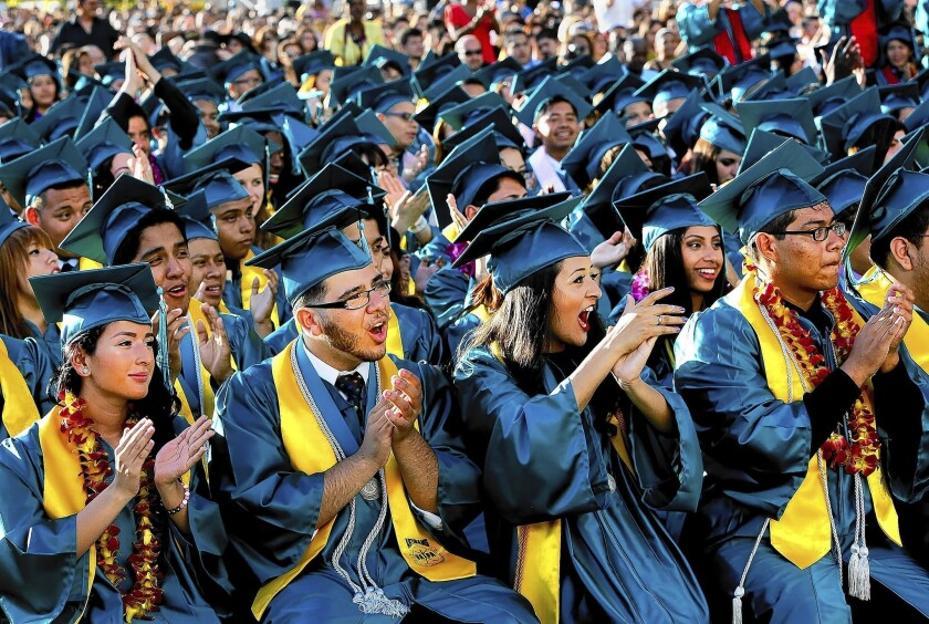 Graduates cheer at the Ramon C. Cortines School of Visual & Performing Arts last spring. In Los Angeles Unified, the nation's second-largest school system, the overall graduation rate in 2013 was 67.9%; an increase of 1.3 percentage points from the previous year.