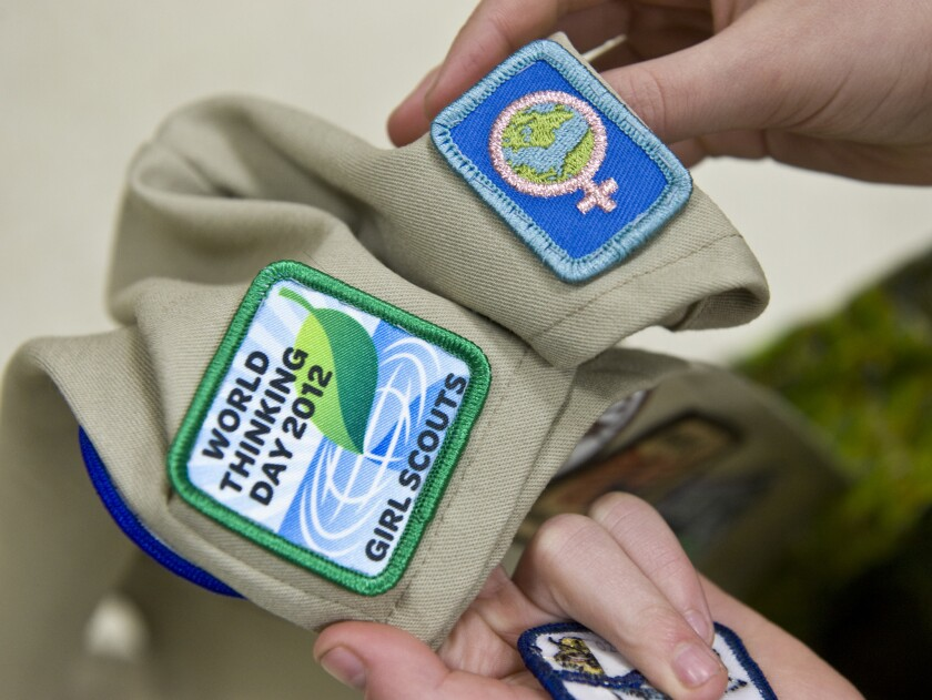 Girl Scout badges.
