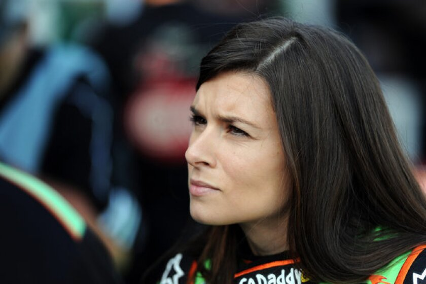 Danica Patrick looks during practice for the NASCAR Nationwide Series Virginia 529 College Savings 250 on Friday.