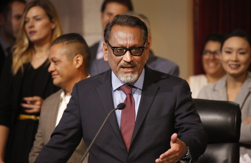 LOS ANGELES, CA – APRIL 17, 2018: Los Angeles City Council member Gilbert Anthony Cedillo, represe